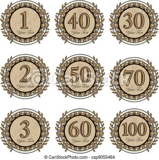 vincitore, set, anniversario, segni - csp9055464