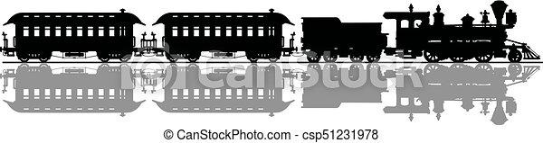 vindima, americano, trem, vapor - csp51231978
