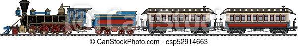 vindima, americano, trem, vapor - csp52914663
