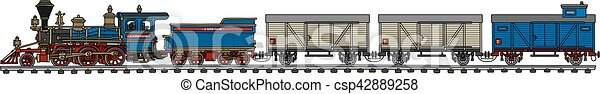 vindima, americano, trem, vapor - csp42889258