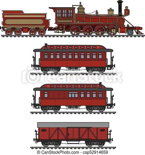 vindima, americano, trem, vapor - csp52914659