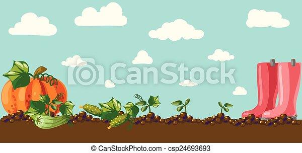 vindima, bandeira, jardim, raiz, veggies - csp24693693