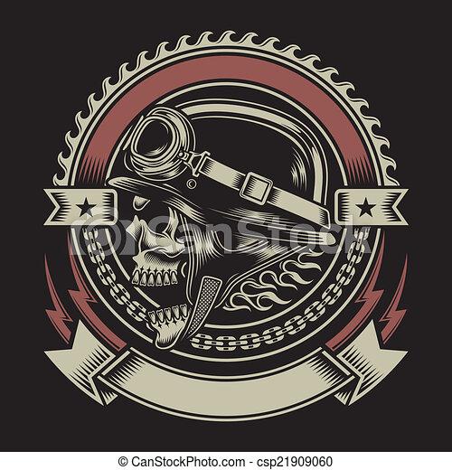 vindima, biker, emblema, cranio - csp21909060
