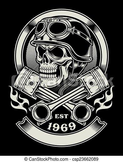 vindima, biker, emblema, cranio - csp23662089