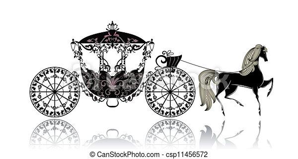 vindima, carruagem, cavalo - csp11456572