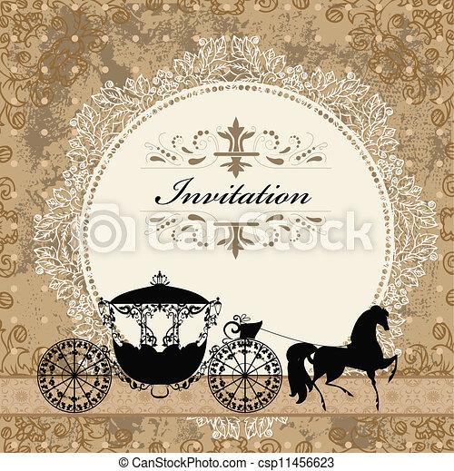 vindima, carruagem, desenho, cartão - csp11456623