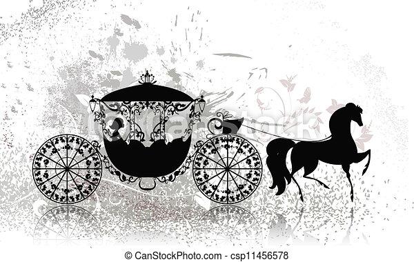 vindima, carruagem, grunge, cavalo - csp11456578