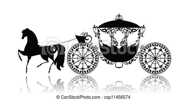 vindima, cavalo, silueta, carruagem - csp11456574