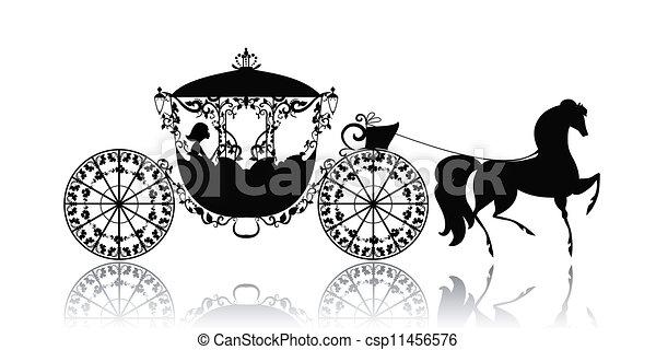 vindima, cavalo, silueta, carruagem - csp11456576