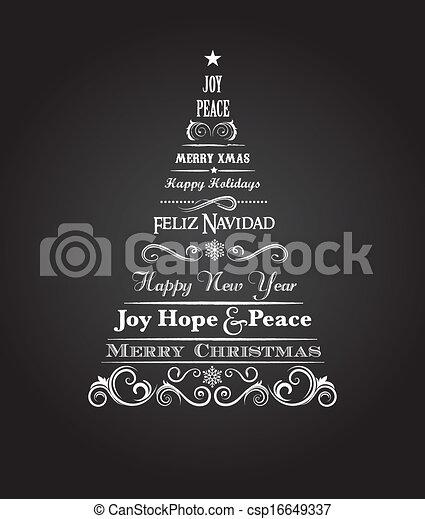 vindima, elementos, árvore, natal, texto - csp16649337