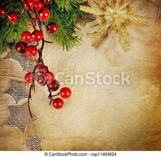 vindima, estilo, card., saudação, natal - csp11464624