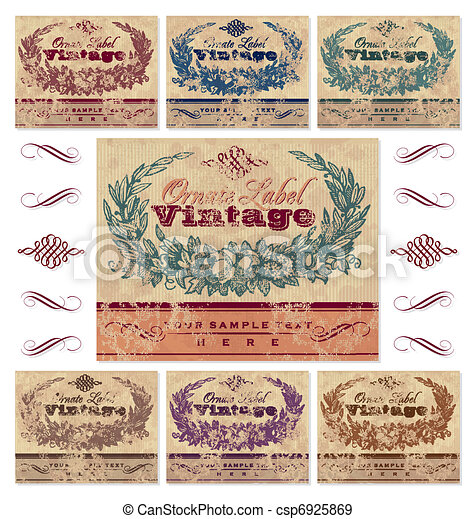 vindima, etiquetas, jogo, (vector) - csp6925869