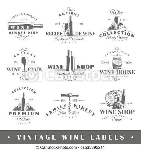 vindima, etiquetas, jogo, vinho - csp35392211