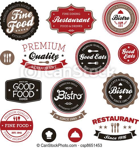 vindima, etiquetas, restaurante - csp8651453