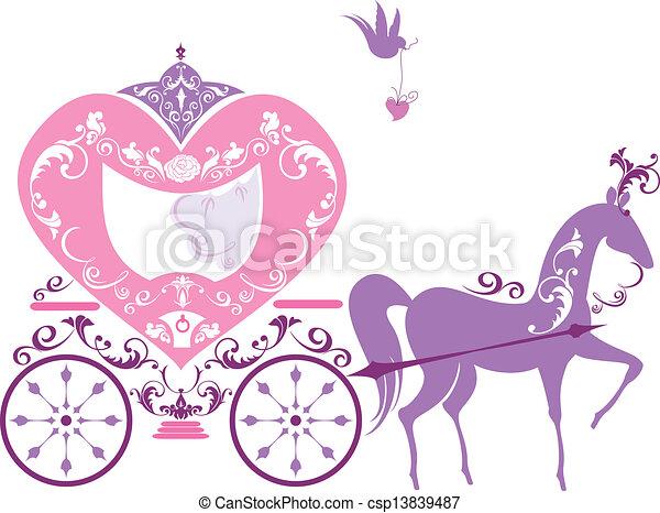 vindima, fairytale, cavalo, carruagem - csp13839487