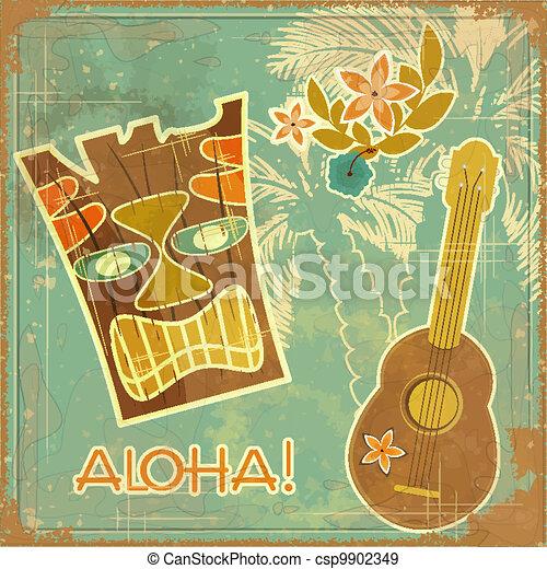 vindima, havaiano, cartão - csp9902349