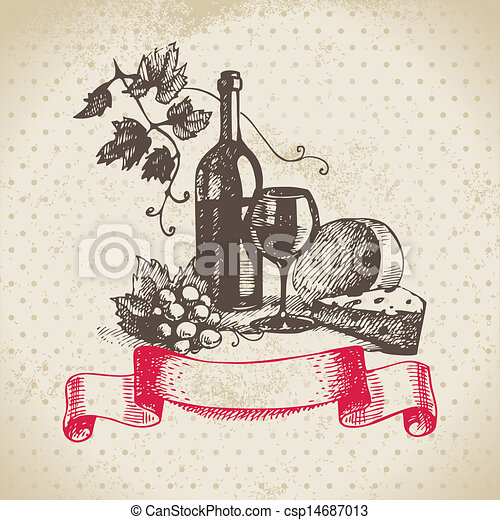 vindima, ilustração, mão, experiência., desenhado, vinho - csp14687013