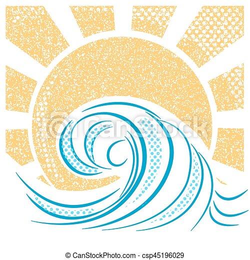 vindima, ilustração, vetorial, sun., mar, ondas, paisagem - csp45196029