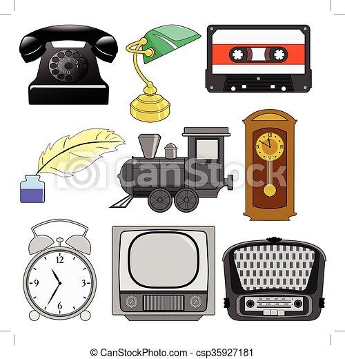 vindima, jogo, ilustração, objetos - csp35927181