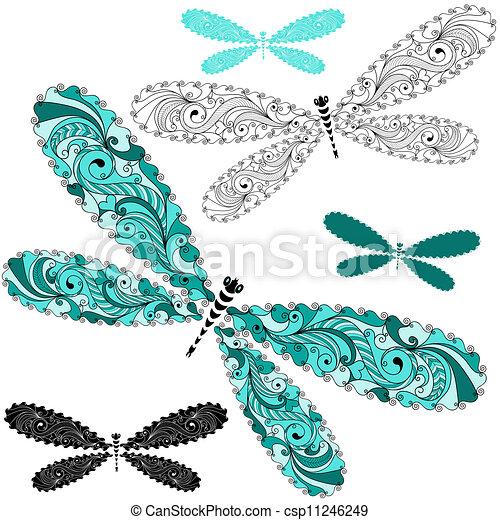 vindima, jogo, renda, libélulas - csp11246249