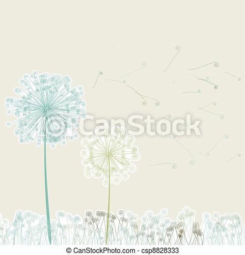 vindima, light., dois, eps, dandelions, 8, vento - csp8828333