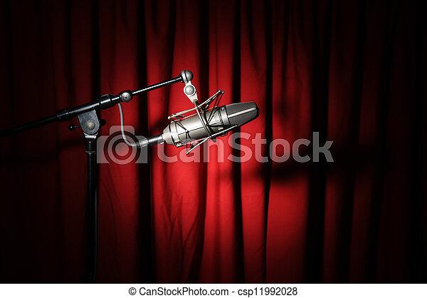 vindima, microfone, cortina - csp11992028