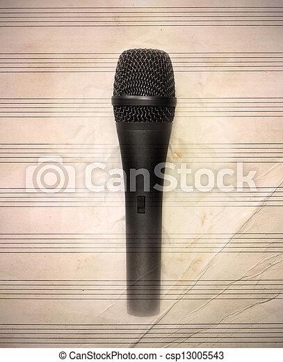 vindima, microfone, música folha - csp13005543