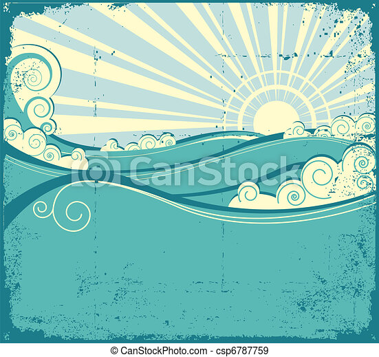 vindima, paisagem, mar, waves., ilustração - csp6787759