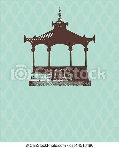 vindima, pavilion., antigas, cartão - csp14510490