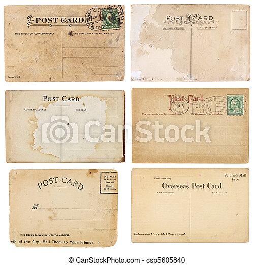 vindima, postais, seis, cobrança - csp5605840
