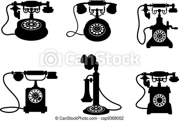 vindima, retro, telefones - csp9368002