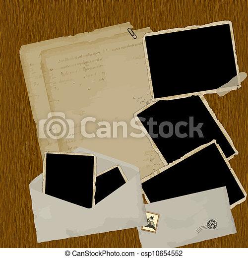 vindima, scrapbook, composição - csp10654552