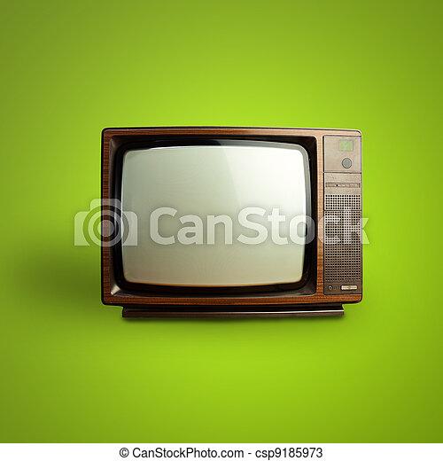 vindima, televisão, verde, sobre, fundo - csp9185973