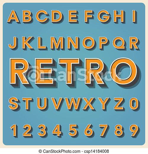 vindima, tipo, fonte, tipografia, retro - csp14184008