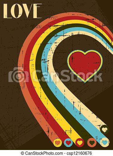 vindima, valentines, calligraphic, experiência., texto, tipo, dia - csp12160676