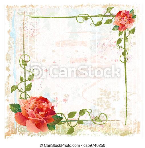 vindima, vermelho, hera, fundo, rosas - csp9740250