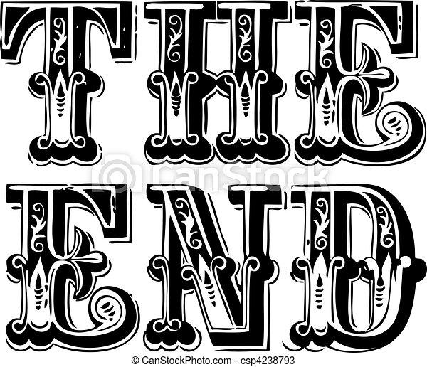vindima, vetorial, fim, lettering - csp4238793