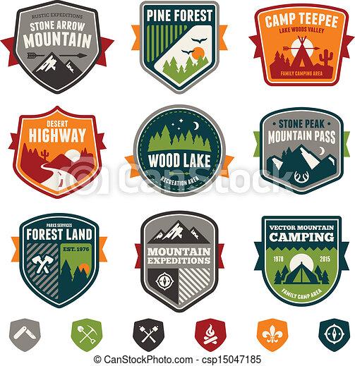vindima, viagem, acampamento, emblemas - csp15047185