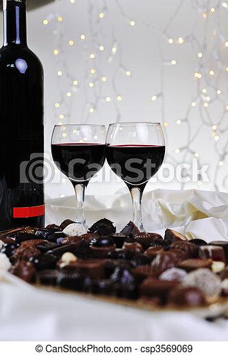 vine, chocolate and praline decoration - csp3569069