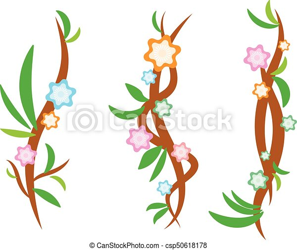 vine design with flower and leaf kids and colourful theme rh canstockphoto com