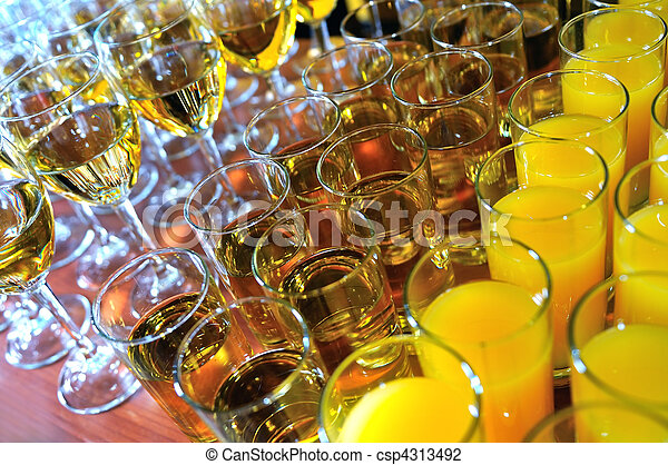 vine glass arangement in restaurant - csp4313492