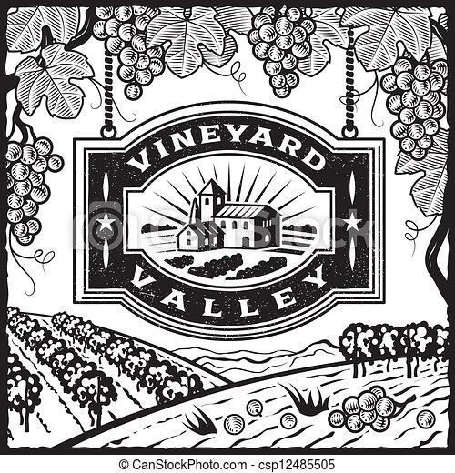Vineyard valley black and white csp12485505