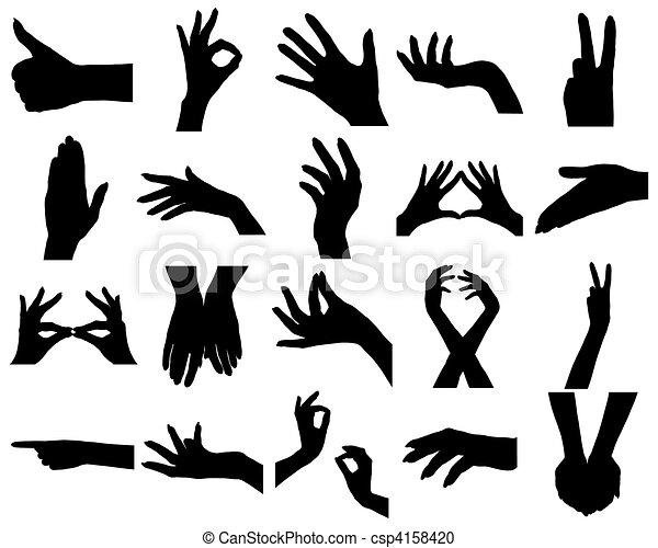 vingt, silhouettes, femme, mains - csp4158420