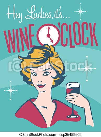 vinho, desenho, retro, o%u2019clock - csp35488509
