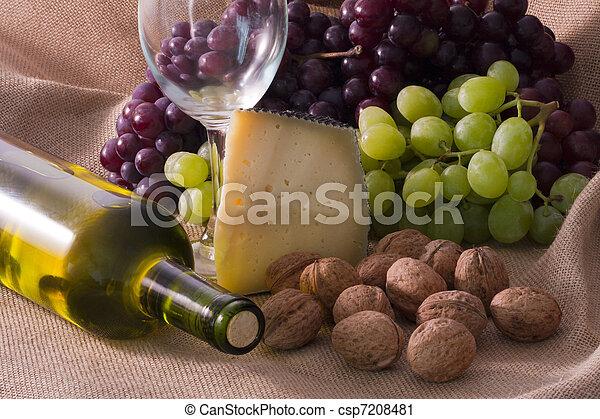 vinho, queijo, nozes, tiro, estúdio - csp7208481
