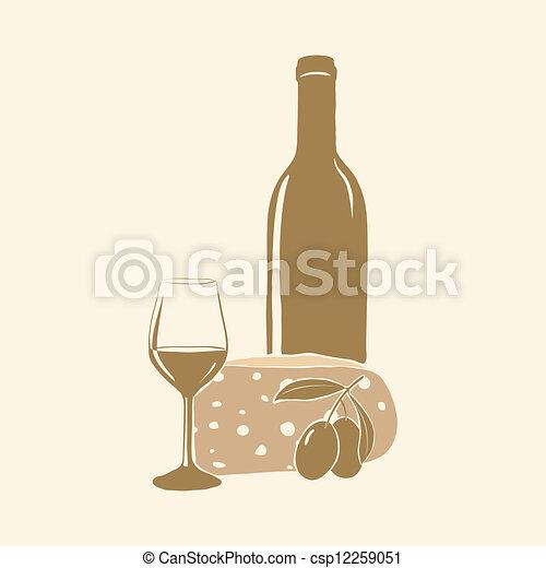vinho, vidro, azeitonas, queijo - csp12259051