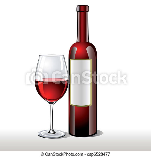 Una botella de vino tinto con una copa - csp6528477