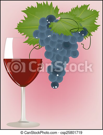 Uvas con una copa de vino tinto - csp25801719