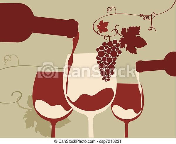Un vaso de vino tinto con uvas - csp7210231