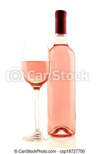 vino rosado, aislado, botella, vidrio - csp18727750
